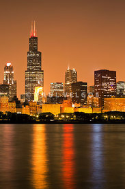Chicago Night Skyline Willis Sears Tower