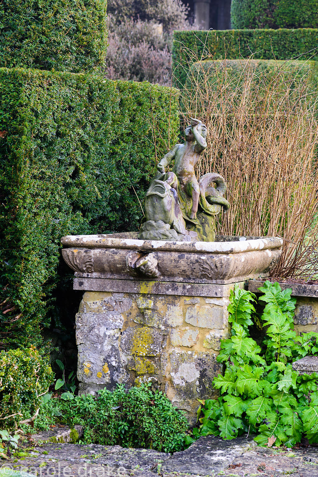 Water feature in the Fountain Court at Mapperton, Dorset