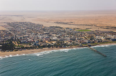 Aerial view of Swakopmund town and atlantic coast, Namibia, Africa, August 2008
