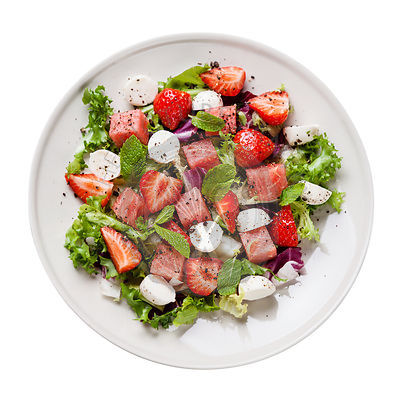 Watermelon Salad with mozzarella on white background