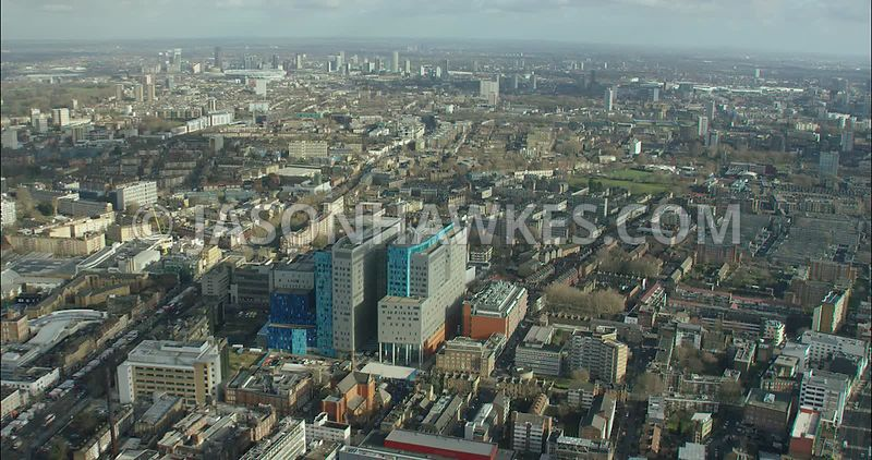 London Aerial footage, Whitechapel with London Hospital.