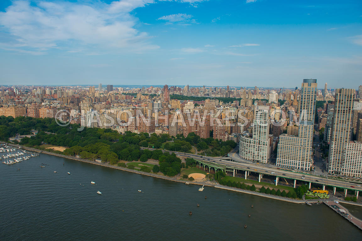 Aerial view of Riverside Park and Upper West Side, Manhattan