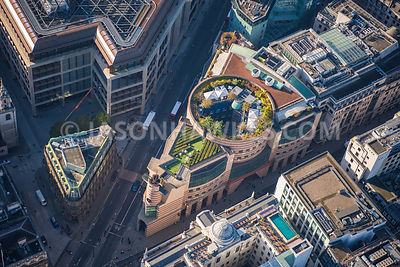 Aerial view of the roof garden on 1Poultry and the Ned Hotel in the City of London. London aerial view. Aerial view rooftop g...