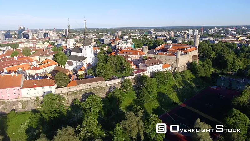 Tallinn skyline at sunset from outside city walls Estonia