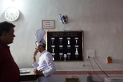 India - Korba - A waiter in the Indian Coffee house at Transport Nagar