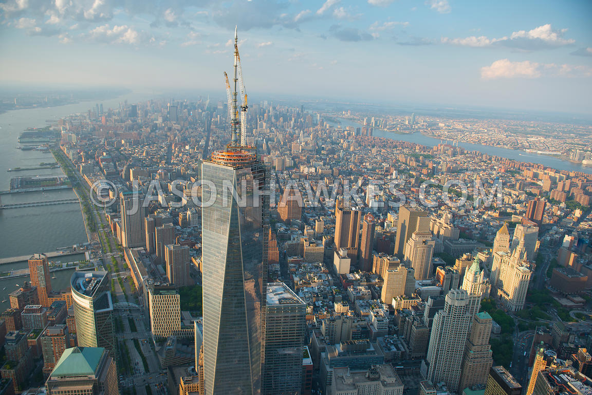 View of the Freedom Tower looking north towards Midtown - 1 World Trade Centre, at 104 floors the 1777ft tall building is the...