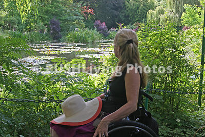Woman in a wheelchair in Monet's Garden