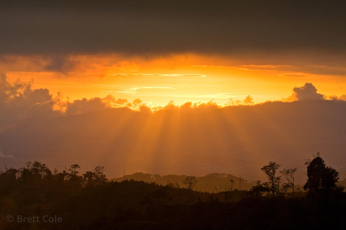 Sunset view looking towards San Isidro from the Las Nubes Reserve, Costa Rica