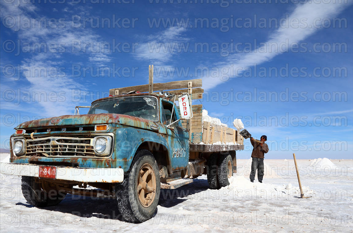 Magical Andes Photography Man Loading Salt Into Vintage Ford Truck To Be Processed Salar De Uyuni Bolivia Photograph
