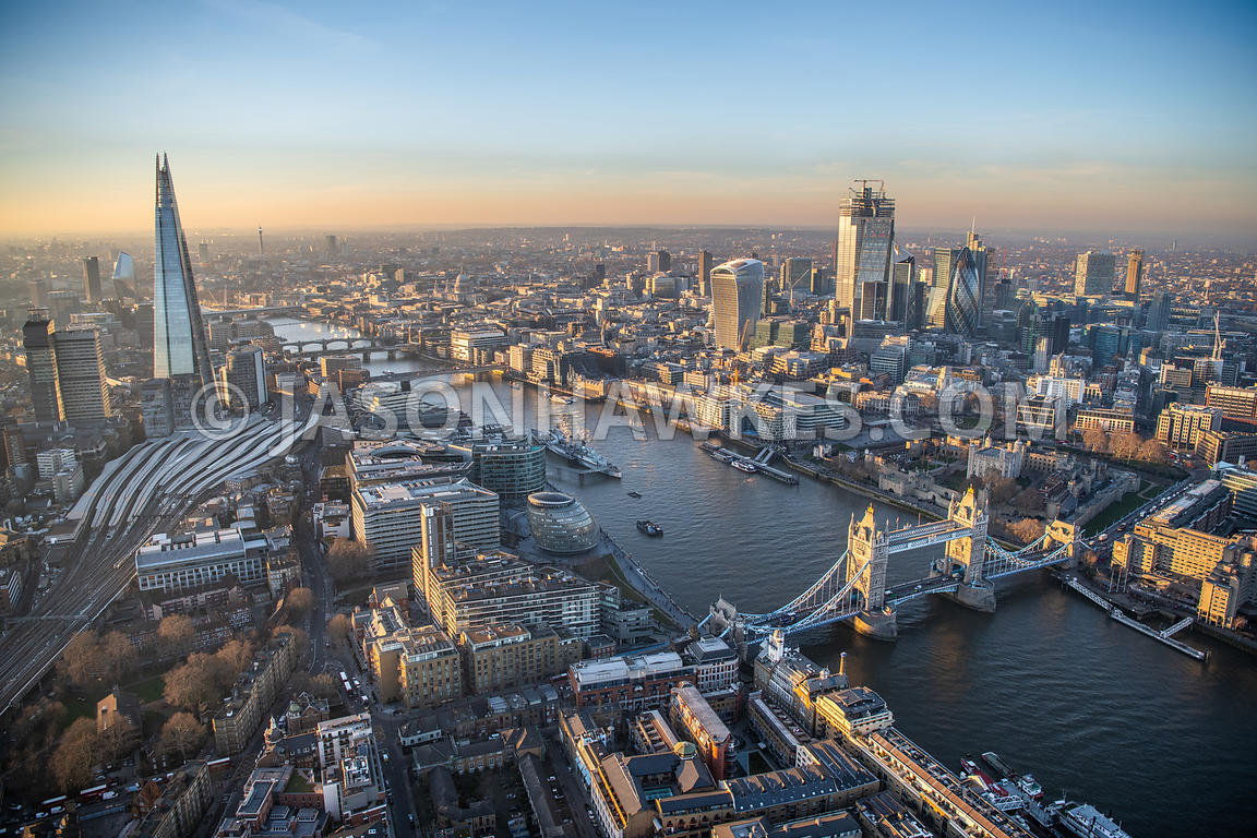 Aerial view of Tower Bridge, River Thames, the Shard and City of London
