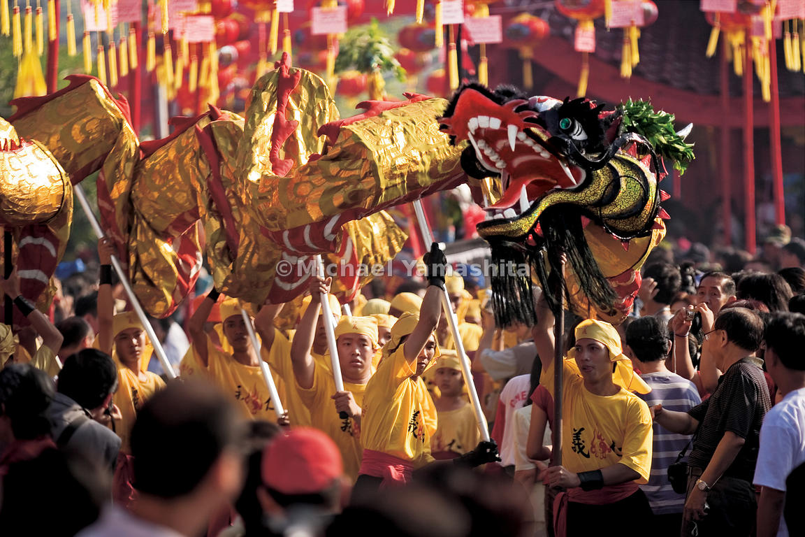 The festival, replete with lion and dragon dancers, lasts three days.
