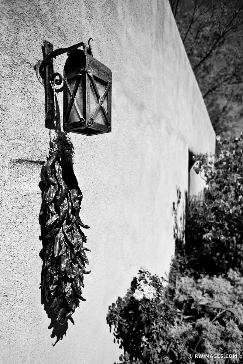 RED CHILI PEPPERS RISTRAS SANTA FE NEW MEXICO BLACK AND WHITE
