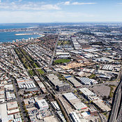 Aerial view of Port Melbourne looking to the west.