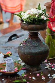 A vase used for rituals in the Hooghly River during the Durga Puja festival, Kolkata, India.