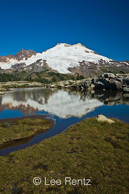 A mountain tarn near the trail to Park Butte Lookout with Mt. Baker looming in the distance, Mt. Baker–Snoqualmie National Fo...