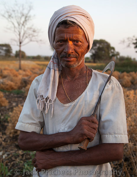 Rajhastani farmer with sickle