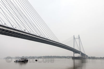 Hastings Bridge spans the Hooghly River, Kolkata, India.