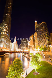 Chicago River Skyline at Night