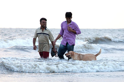 Two men walk a dog in the Arabian Sea at Juhu Beach, Mumbai, India.