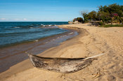 Dugout canoe on the beach, Chintheche, Malawi