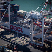 OOCL Aerica Loading Up In Port Melbourne, Victoria