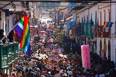Throng of onlookers during the extravagant Cusco Week festivites, held each year in June leading up to the Inti Raymi festiva...