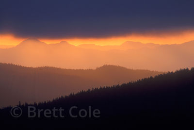 Sunset over the Oregon Cascades from Four-in-One-Cone, Three Sisters Wilderness.