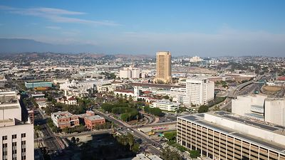 Wide Shot: Overlooking Union Station & the 101 in Downtown L.A.