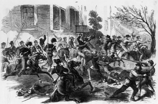 Union soldiers charge Fairfax Court House, VA on June 1, 1861
