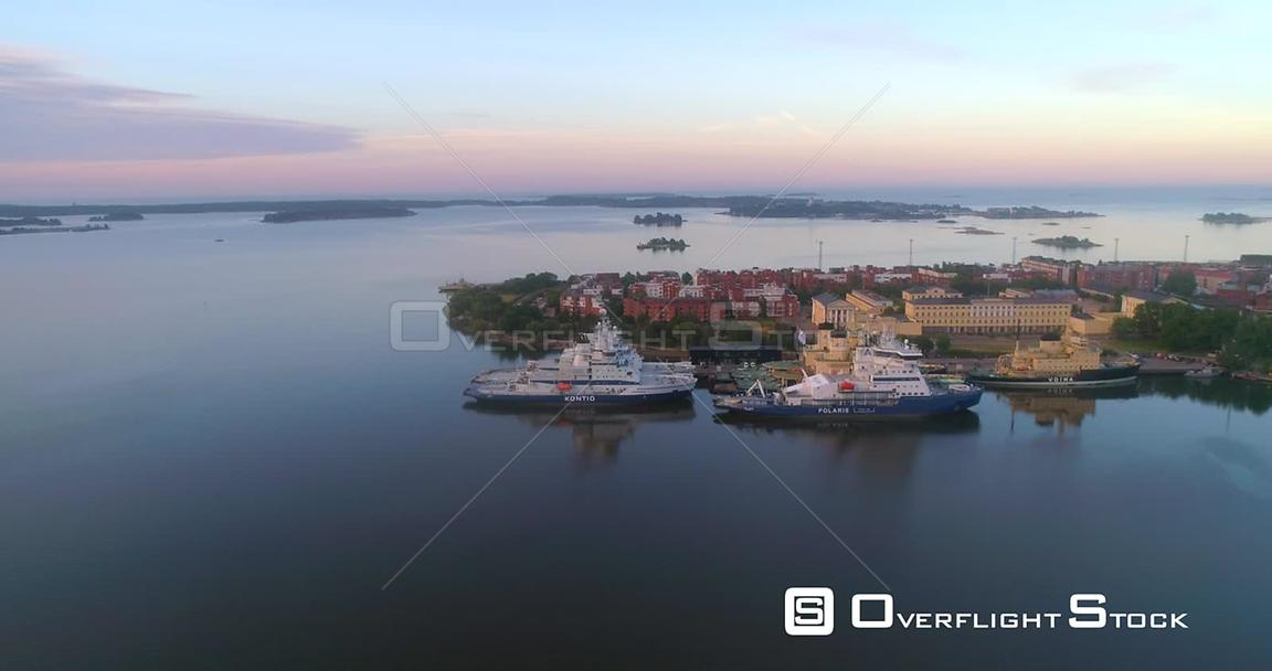 Ice Breakers, Aerial View Around Icebreakers at Katajanokka Bay, on a Sunny Summer Morning Dawn, in Helsinki, Uusimaa, Finland