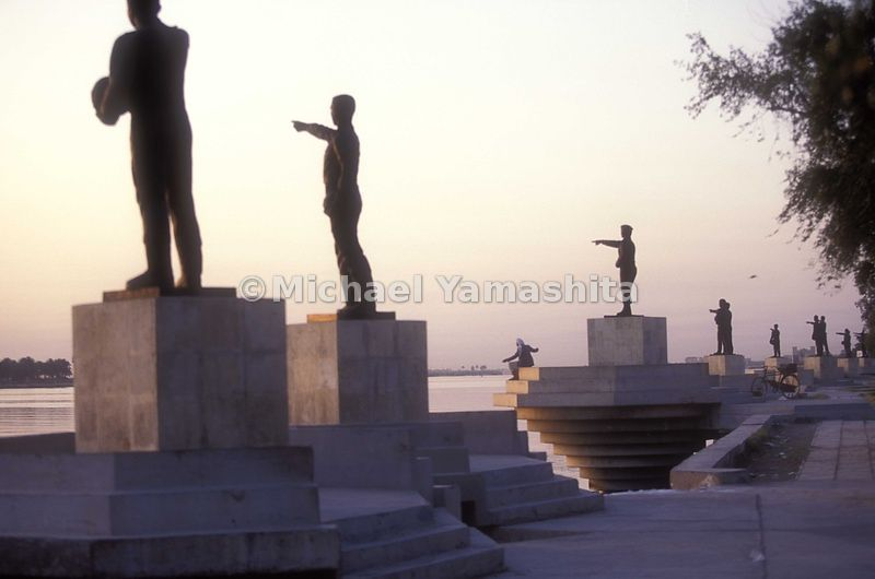Martyrs Statues on the Shtl al Arab River, 61 soldiers pointing to Iran. Built in 1989 after the war, name and date of death ...
