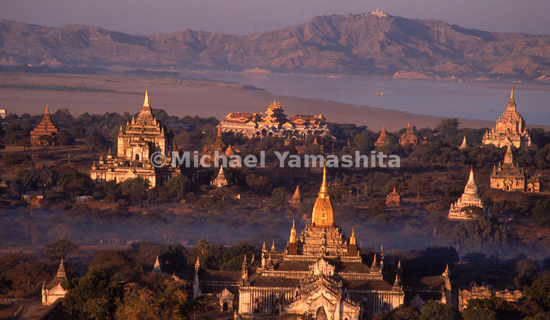 The skimming light floods the valley of Bagan with gold, Myanmar.