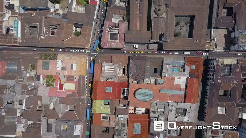 Top Down view of Streets of Quito Ecuador