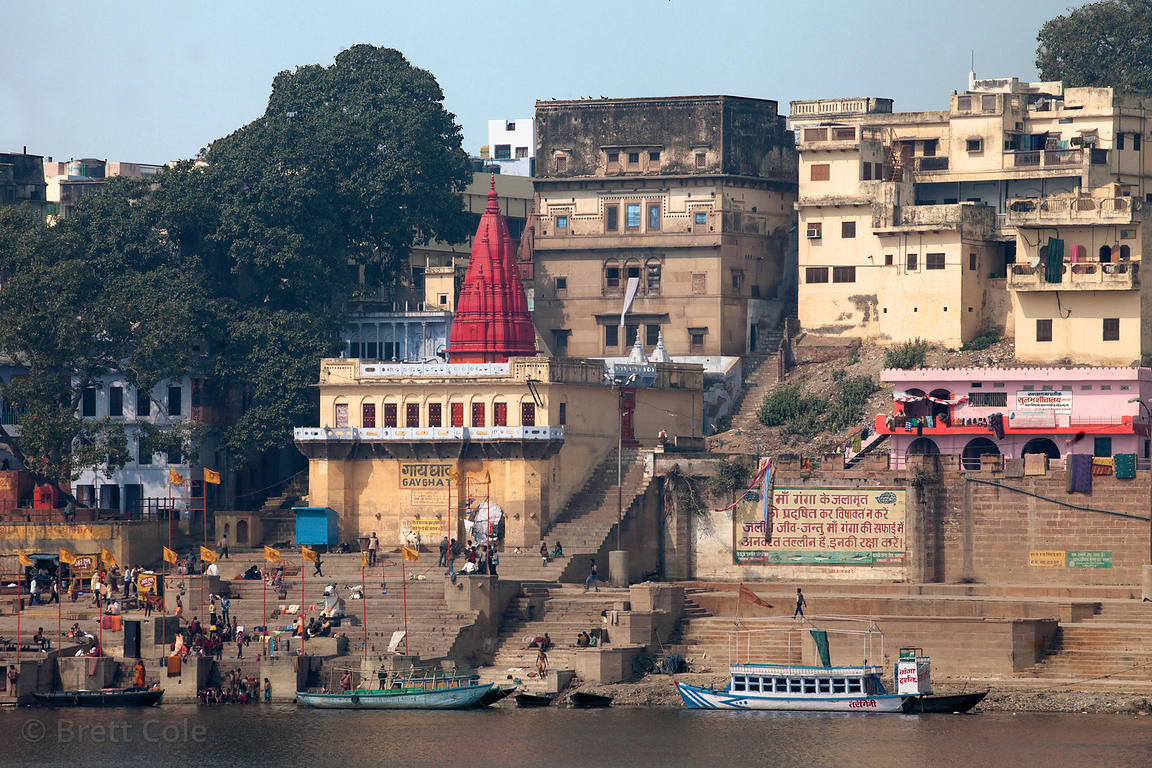 Temple at Gay Ghat, Varanasi, India.