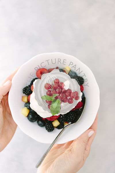Whipped Cream topped summer fruit