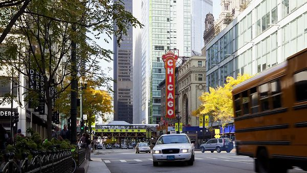Medium Shot: An Average Day On State Street, Chicago Theater In The Bacground