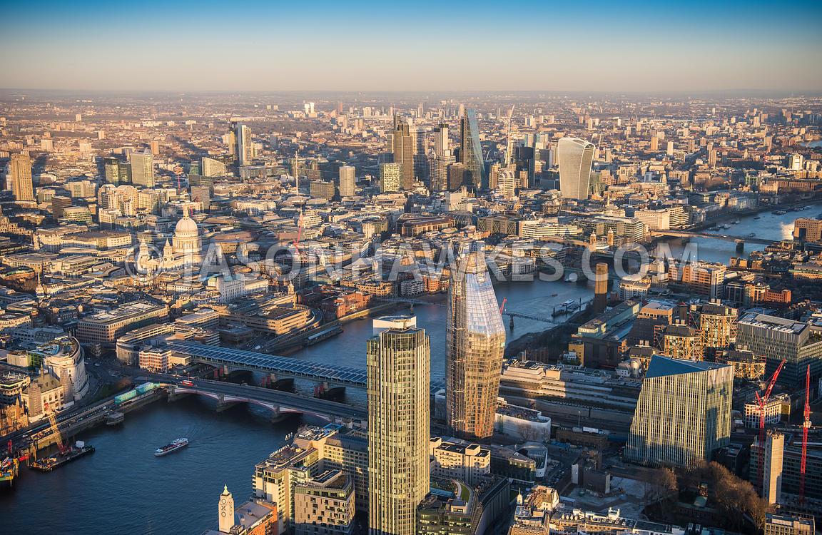 Aerial view of London , River Thames, at Blackfriars Bridges with St Paul's Cathedral.