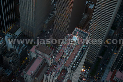 Aerial view of people on top of the GE Building, a skyscraper in Midtown Manhattan that forms the centrepiece of Rockefeller ...