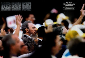 Paris Match Magazine, Cuban leader Fidel Castro is seen among crowds attending the Holy Mass by Pope John Paul II in Revoluti...