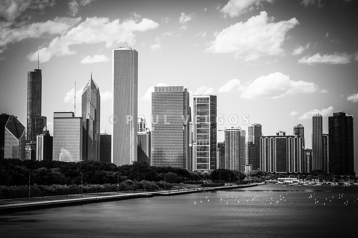 Hi-Res Picture of Chicago Skyline in Black and White