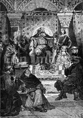 Charlemagne presides in palace school
