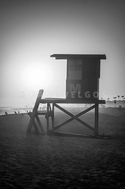 Lifeguard Tower M Newport Beach Black and White Photo