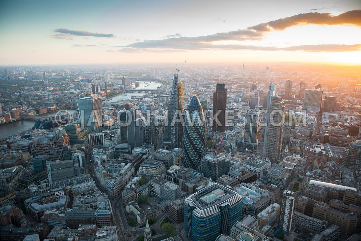 Aerial view City of London.