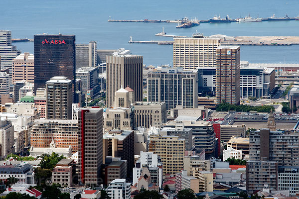 Cityscape of Cape Town, South Africa, showing downtown