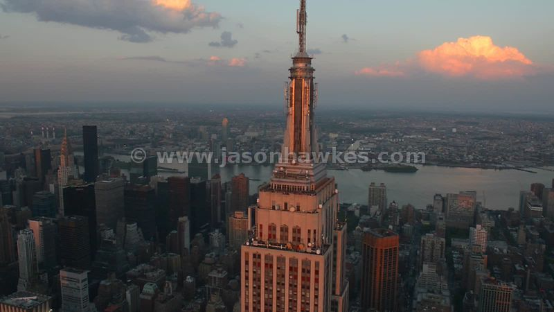Aerial footage of the Empire State Building, New York