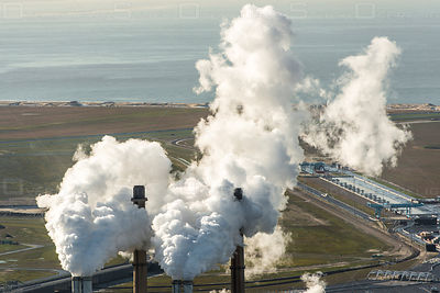 Electricity power station choirs on the maasvlakte near Rotterdam Netherlands