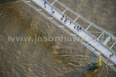 Aerial view of people walking over the London Millennium Footbridge, River Thames, London