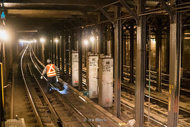 MTA workers on the subway tracks in New York.