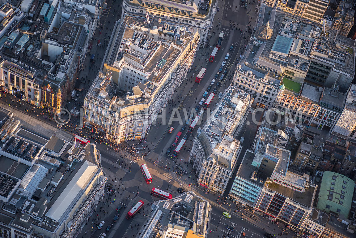 Aerial view of London, Oxford Street and Regent Street
