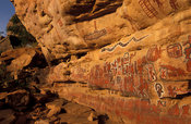 Rock paintings representing different clans of the village, circumcision site, Songo,  Dogon Country, Mali